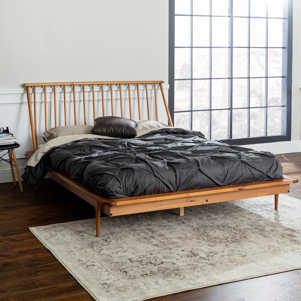 Walker Edison Furniture Company Solid, Modern Wooden Bed Frame Queen
