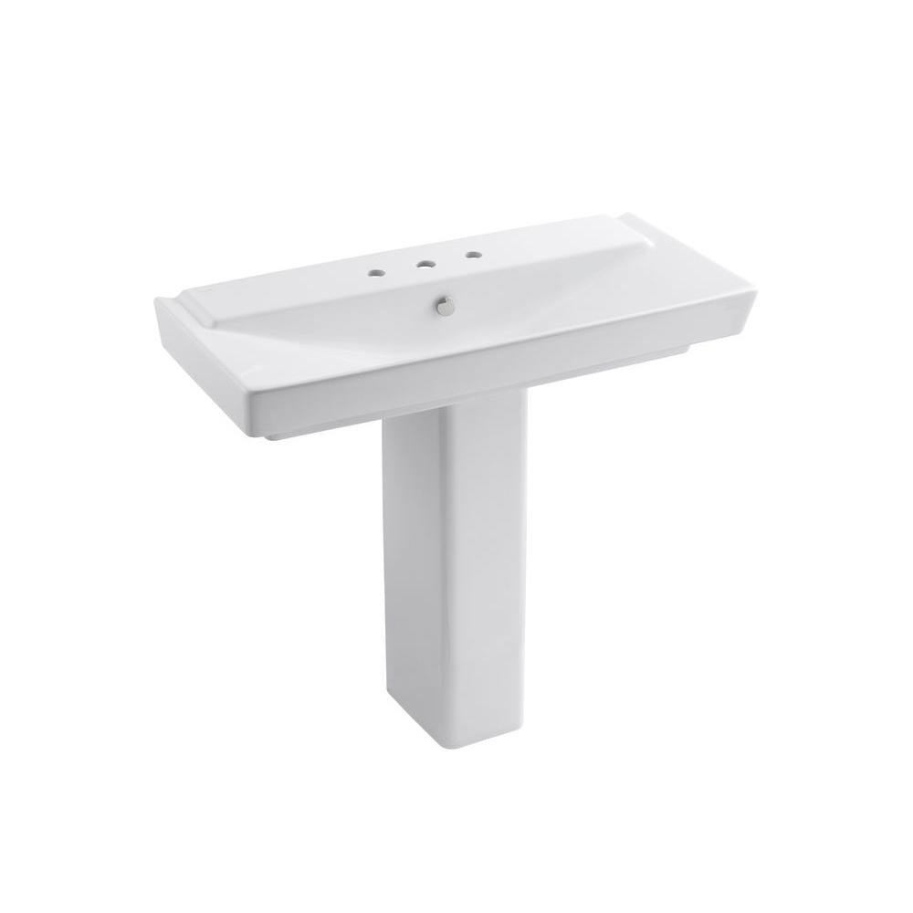 Reve Ceramic Pedestal Bathroom Sink Combo In White With Overflow Drain