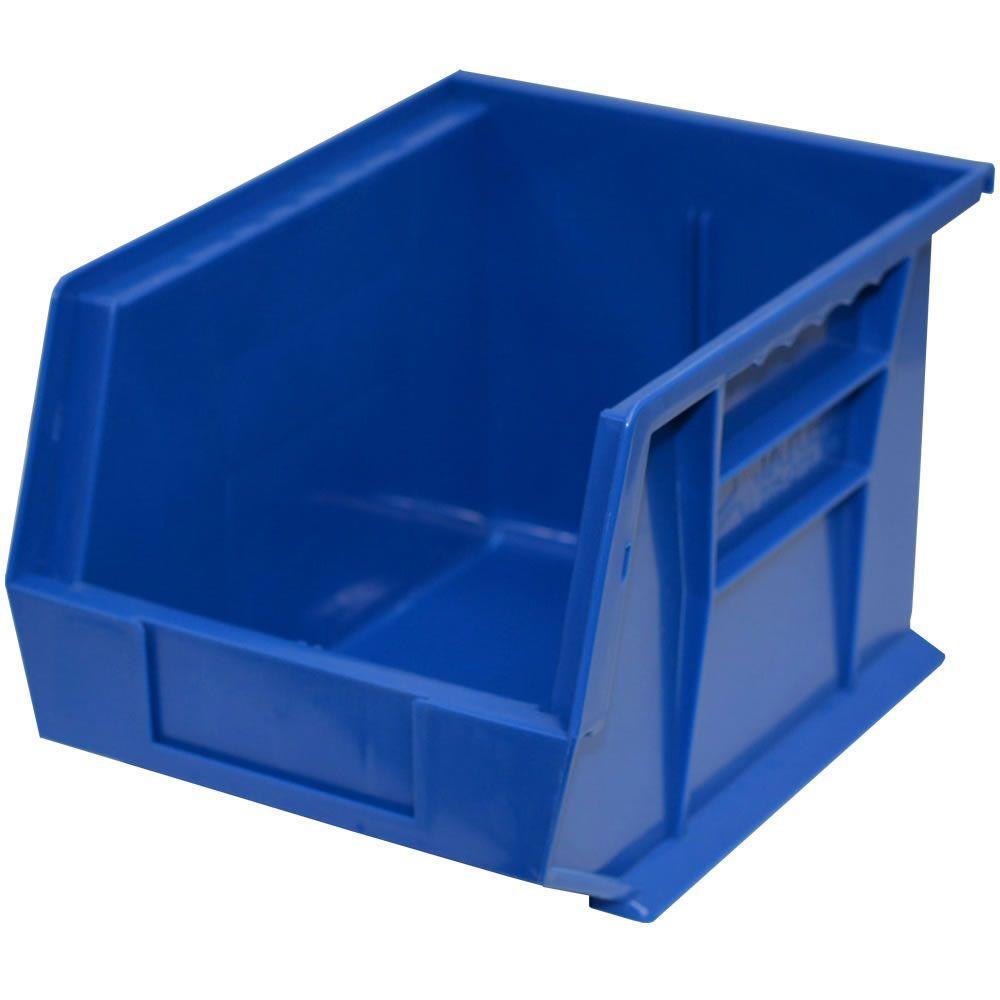 8-1/4 in. W x 10-3/4 in. D x 7 in. H Stackable Plastic Storage Bin in Blue (6-Pack)