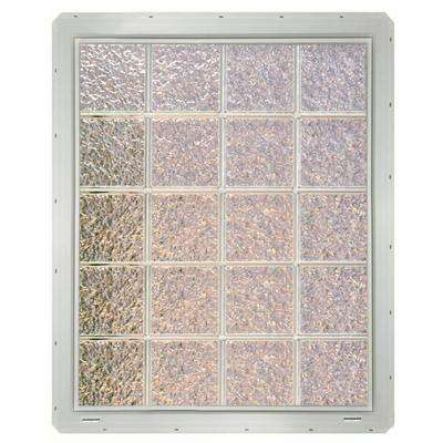 31.75 in. x 39.25 in. x 3.25 in. Ice Pattern Glass Block Window with White Colored Vinyl Nailing Fin