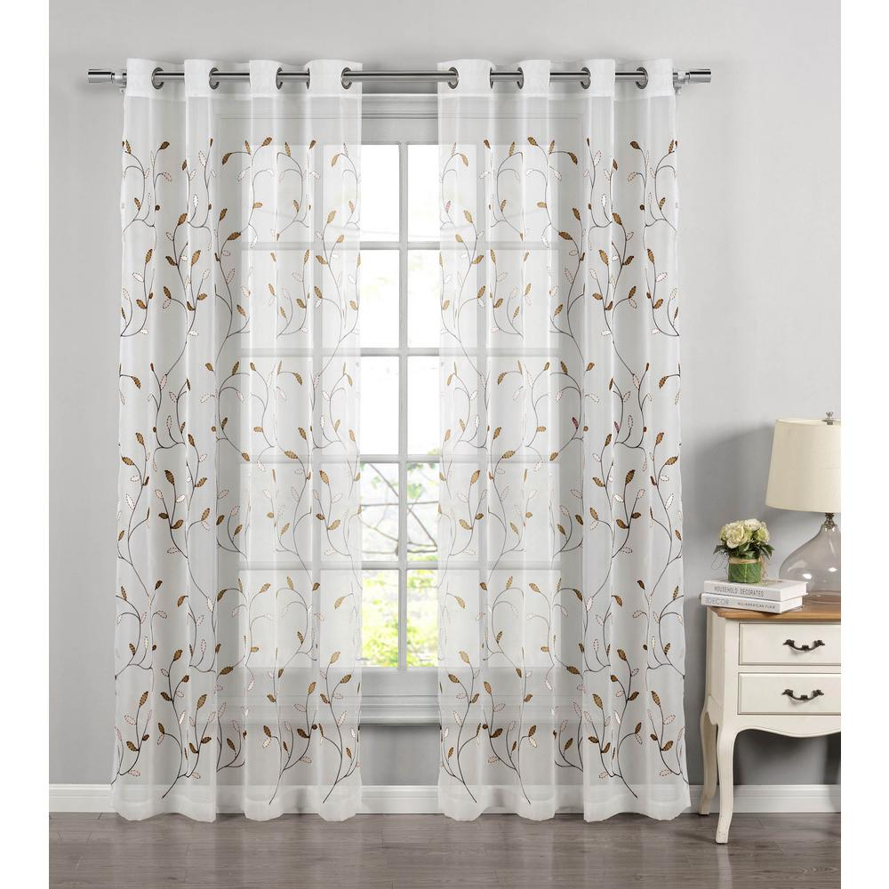 Window Elements Sheer Wavy Leaves Embroidered Chocolate Grommet Extra Wide Curtain Panel 54 In W X 84 L