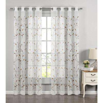 Sheer Wavy Leaves Embroidered Sheer Chocolate Grommet Extra Wide Curtain Panel, 54 in. W x 84 in. L