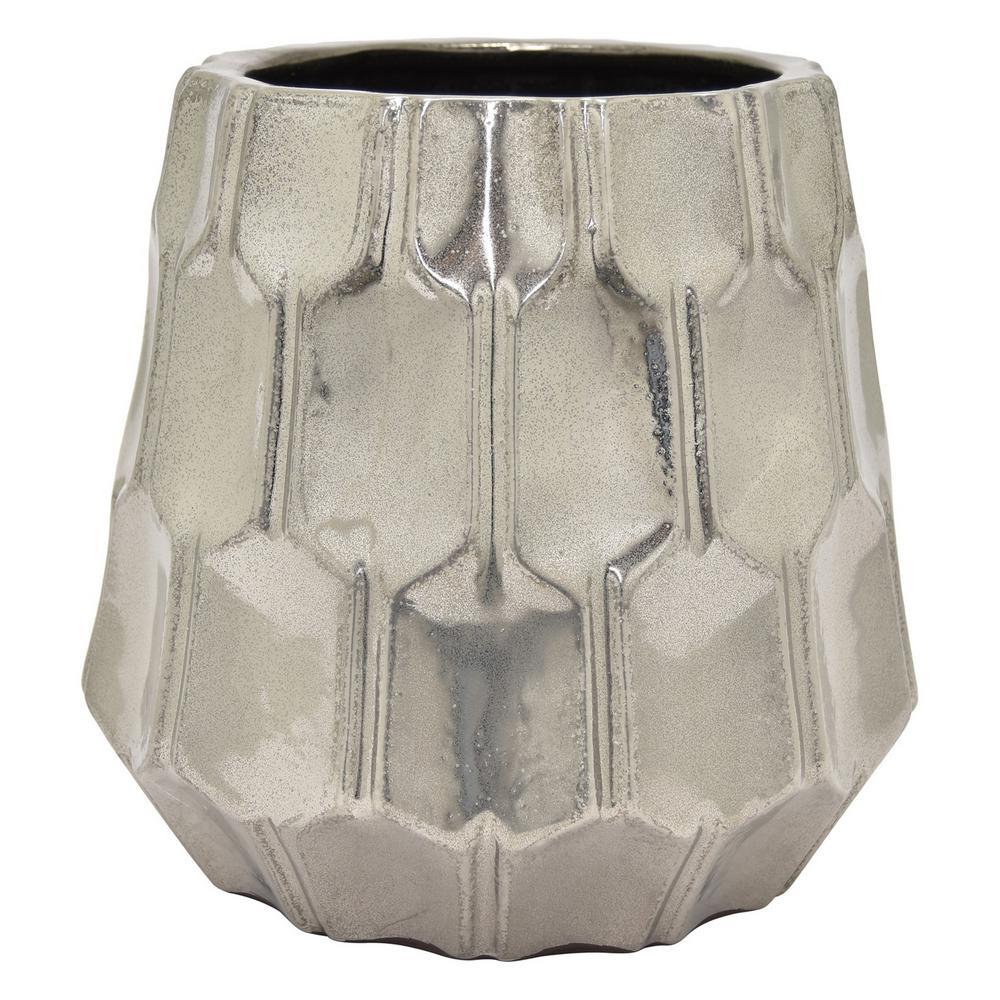9 in. Silver Ceramic Vase