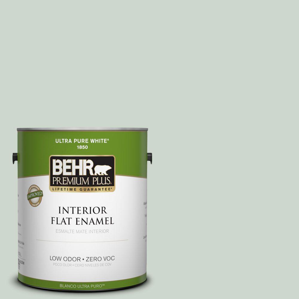 BEHR Premium Plus 1-gal. #450E-2 April Mist Zero VOC Flat Enamel Interior Paint-DISCONTINUED