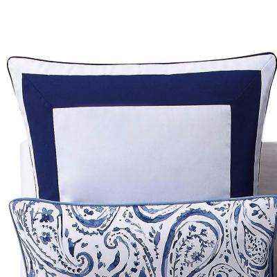 Indienne Paisley Navy and White European Sham