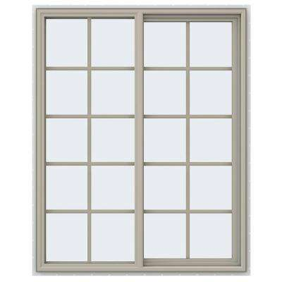 47.5 in. x 59.5 in. V-4500 Series Right-Hand Sliding Vinyl Window with Grids - Tan