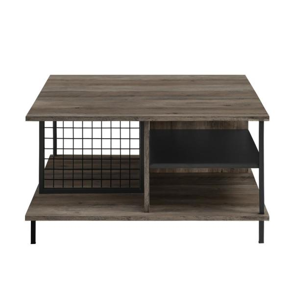 30 in. Grey Wash Metal and Wood Square Coffee Table