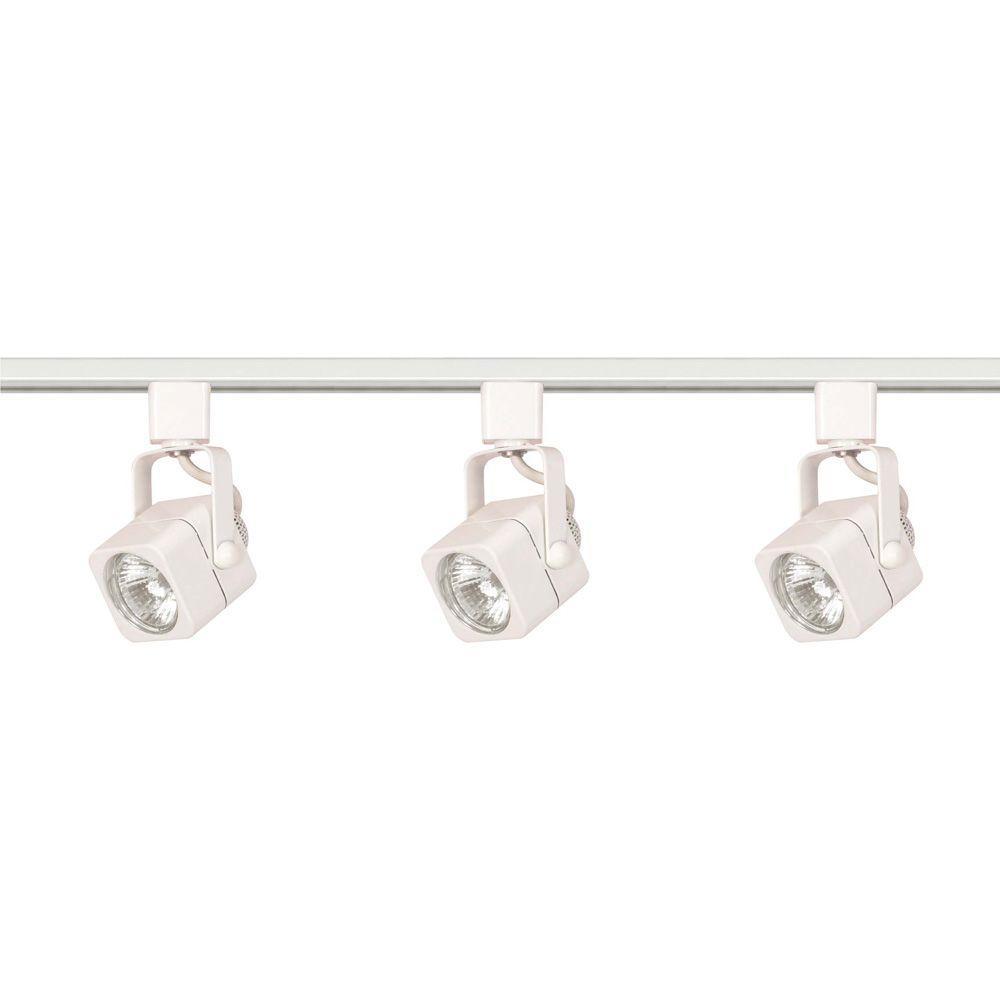 Glomar 3-Light MR16 White Square Track Lighting Kit Line Voltage