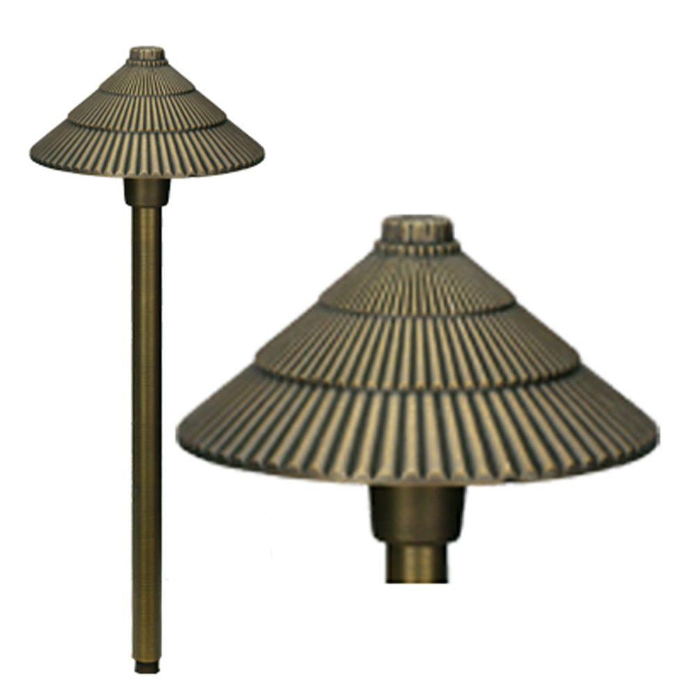 1-Light Antique Bronze Die-Cast Brass Path Light