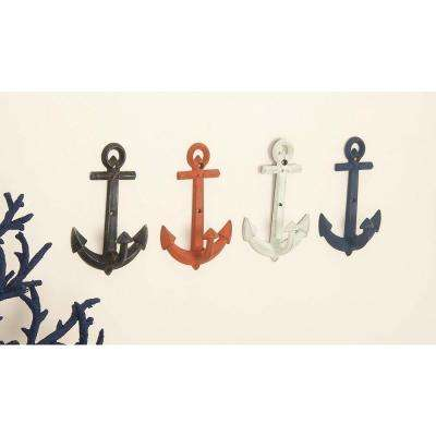 5 in. x 8 in. Coastal-Living Iron Classic Anchor Wall Hooks in Distressed Finish (4-Pack)