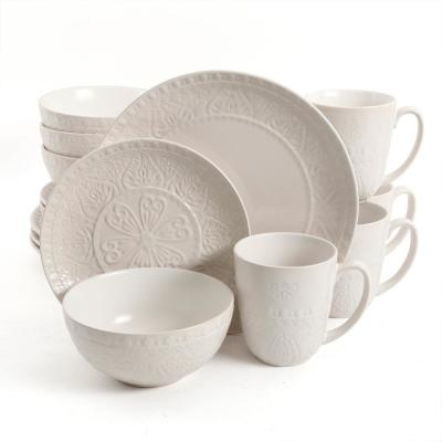 Elite Milanto 16-Piece Cream Dinnerware Set