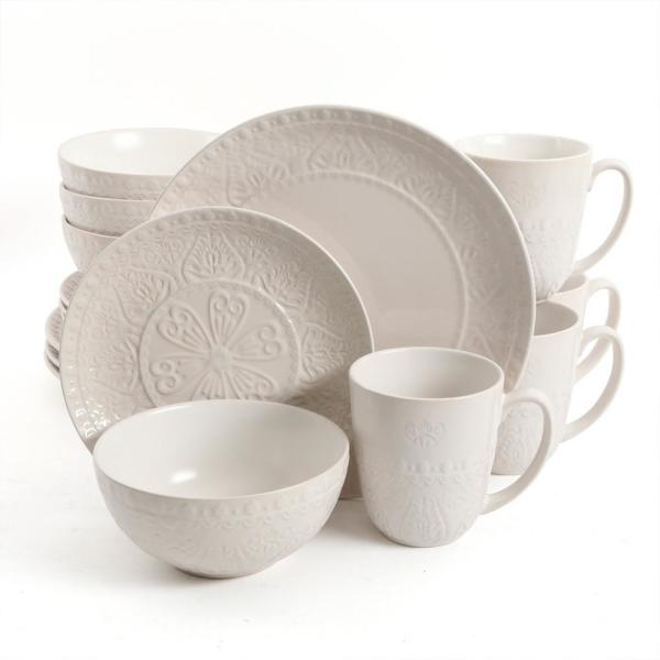 GIBSON elite Elite Milanto 16-Piece Cream Dinnerware Set 985111647M