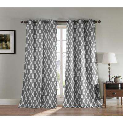 "Kittattinny 38X84"" Polyester Blackout Curtain Panel in Grey (2-Pack)"