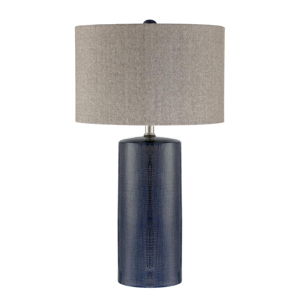 Navy Blue Table Lamp With Gray Linen Shade