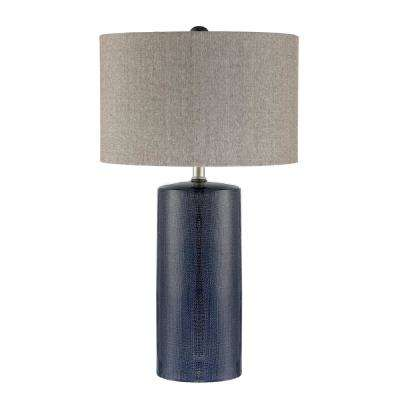 28.75 in. Navy Blue Table Lamp with Gray Linen Shade