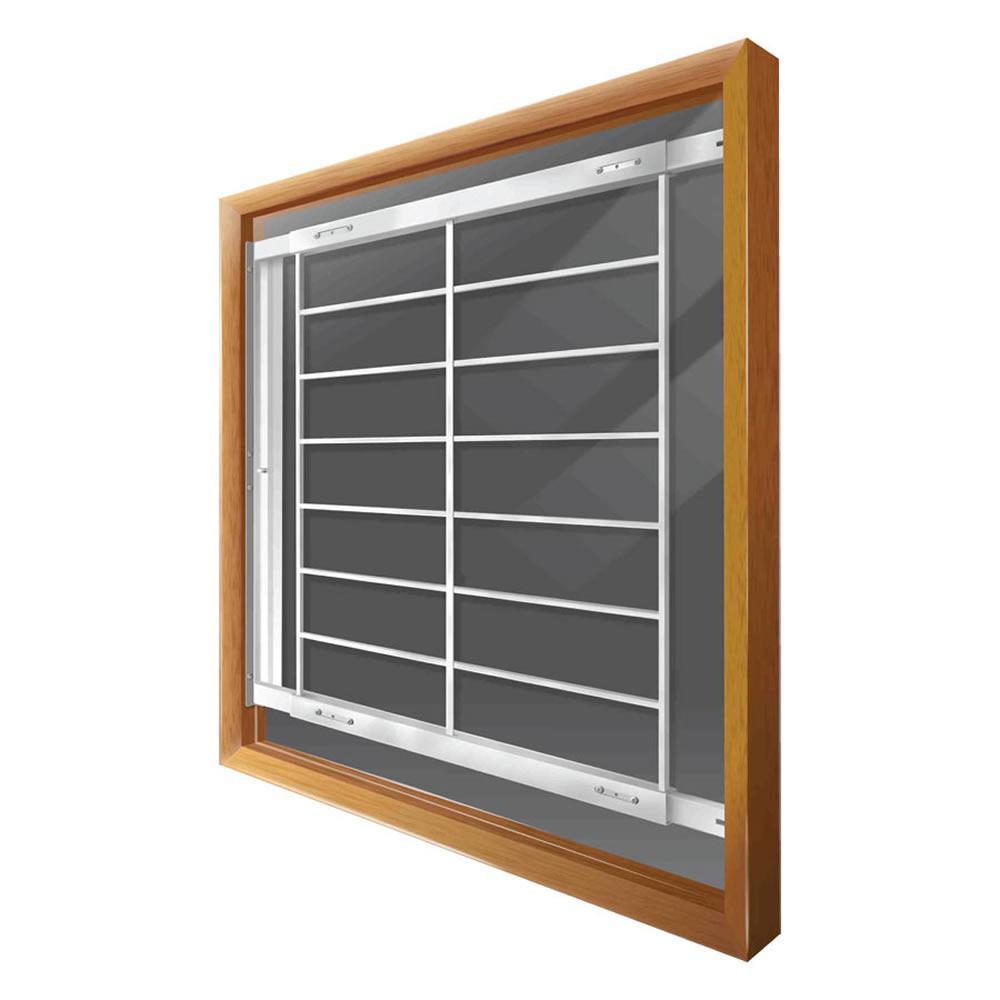 Mr. Goodbar Swing-Away 42 in. to 54 in. Adjustable Width 8-Bar Window Guard, White