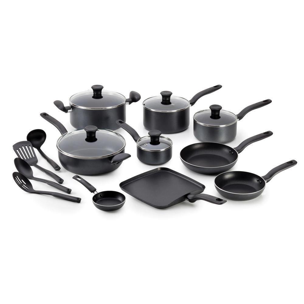 Initiatives 18-Piece Black Non-Stick Cookware Set