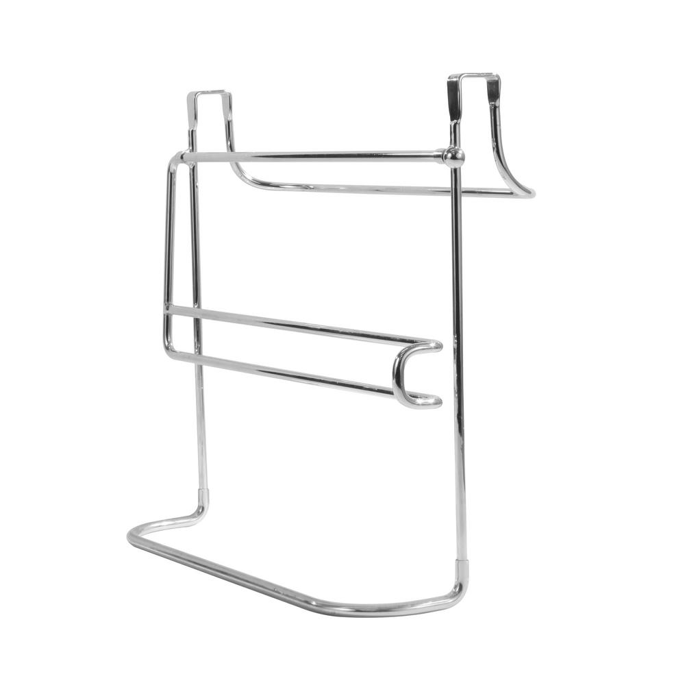 Spectrum Duo 10 5 In X 12 75 Over The Cabinet Dual Towel Bar And Bottle Organizer Chrome