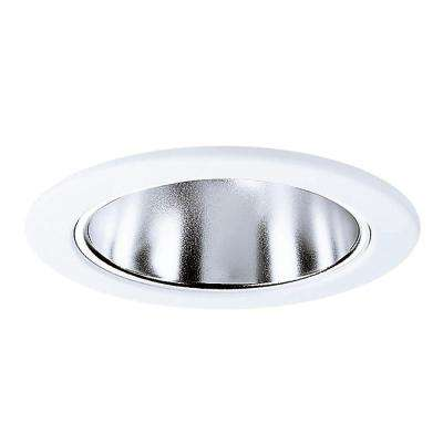 E26 Series 4 in. Clear Recessed Ceiling Light Specular Reflector with White Trim Ring