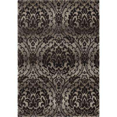 Chesapeake Gray 8 ft. x 11 ft. Plush Pile Damask Indoor Area Rug