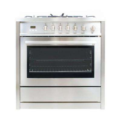 36 in. 3.8 cu. ft. Gas Range with Oven and 5 Burner Cooktop with Heavy Duty Cast Iron Grates in Stainless Steel
