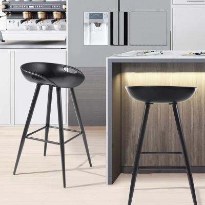 Full Black Bar Stools Counter Height Chairs 27.6 in. High Pub Stools (Set of 2)