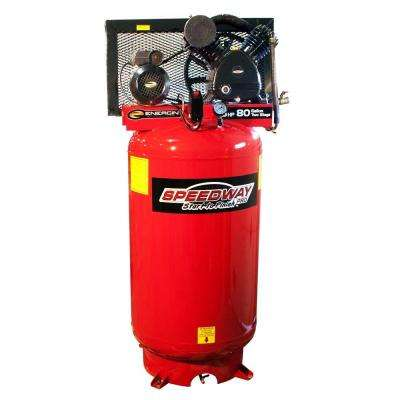 80 Gal. 2-Stage Compressor Cast Iron Belt Drive Pump with ASME Tank