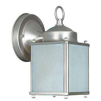 1-Light Satin Nickel Outdoor Lantern