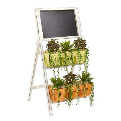 31 in. Mini Agave and Succulent Artificial Plant in Farmhouse Stand with Chalkboard