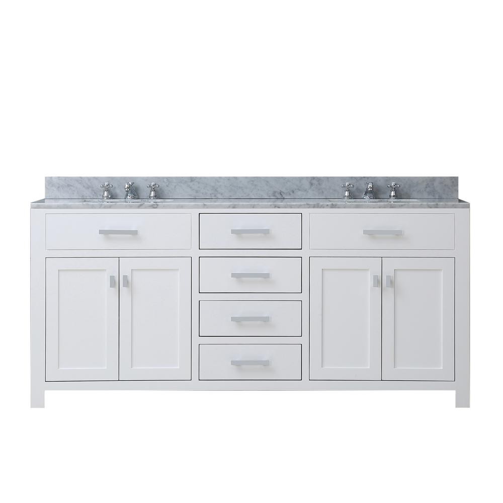 Water Creation Madison 72 in. Vanity in Modern White with Marble ...