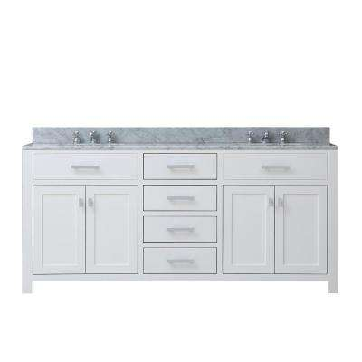Madison 72 in. Vanity in Modern White with Marble Vanity Top in Carrara White