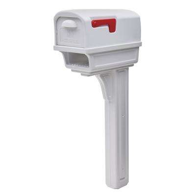 Gentry All-in-One, Large, Plastic, Mailbox and Post Combo, White