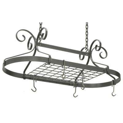 Handcrafted Scrolled Oval Rack Hammered Steel
