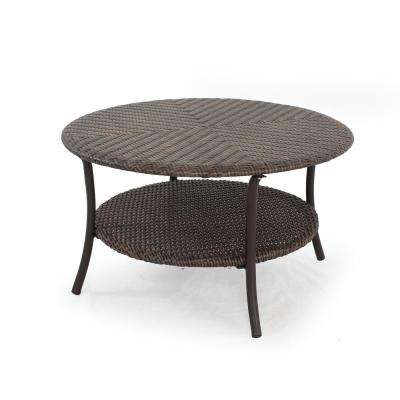 Mix and Match Brown 32 in. Round All-Weather Resin Wicker Outdoor Coffee Table with Woven Table Top