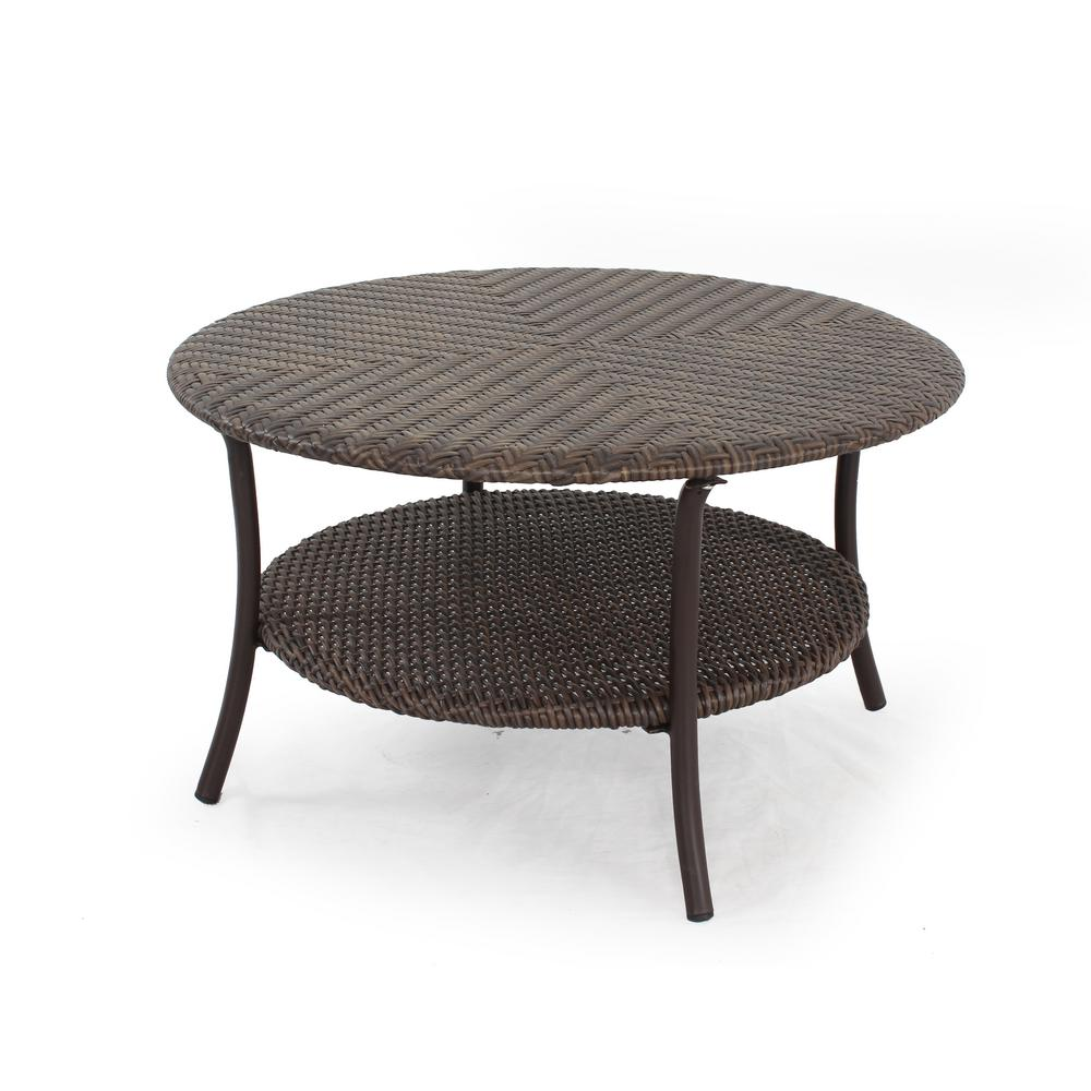 stylewell mix and match brown 32 in round all weather resin wicker outdoor coffee table with woven table top 65 17600 the home depot