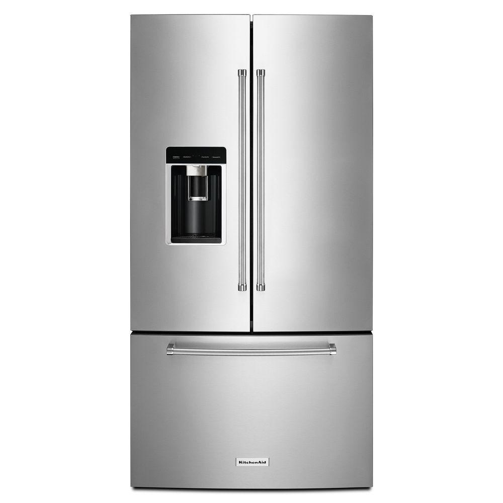 KitchenAid 36 in. W 23.8 cu. ft. French Door Refrigerator ...