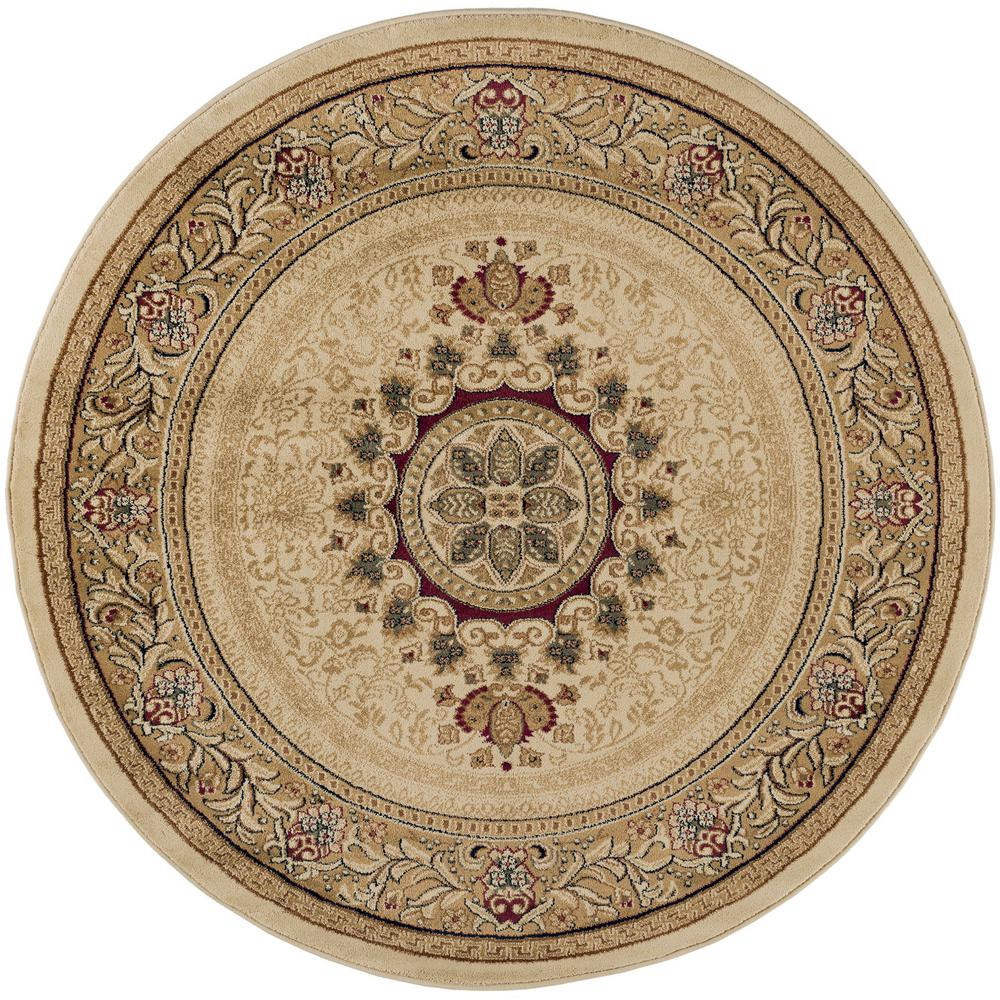 Tayse Rugs Sensation Beige 5 Ft Traditional Round Area Rug