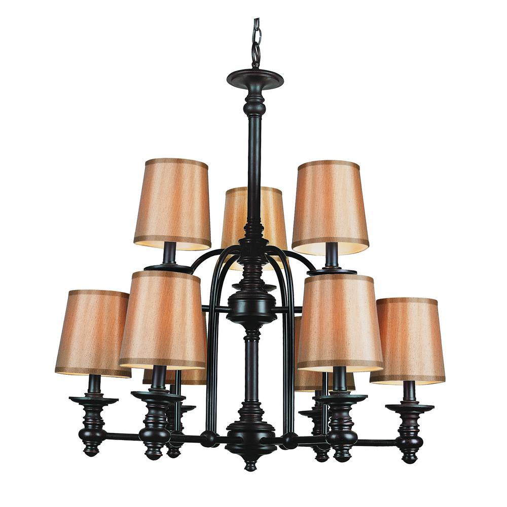 Bel Air Lighting Henderson 9 Light Rubbed Oil Bronze Chandelier With Fabric Shades