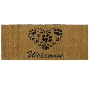 Heart Shaped Paws 24 inch x 57 inch Welcome Mat by