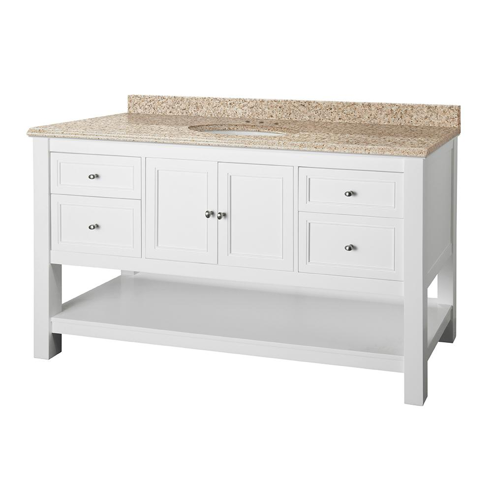 Home Decorators Collection Gazette 61 in. W x 22 in. D Vanity in White with Granite Vanity Top in Beige with White Sink