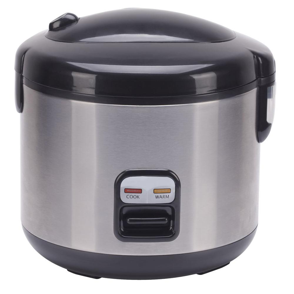 6-Cup Stainless Steel Rice Cooker with Cord Storage