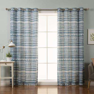 84 in. L Polyester Nordic Geometric Tribal Curtains in Blue (2-Pack)