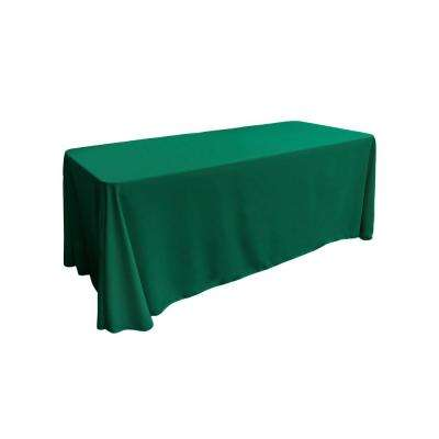 90 in. x 132 in. Teal Polyester Poplin Rectangular Tablecloth