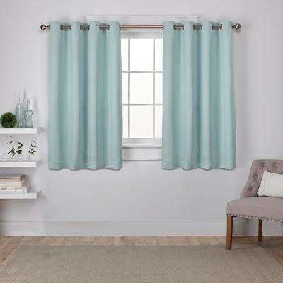 Sateen 52 in. W x 63 in. L Woven Blackout Grommet Top Curtain Panel in Seafoam (2 Panels)