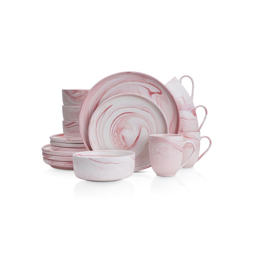16-Piece Casual Pink Porcelain Dinnerware Set (Set for 4)