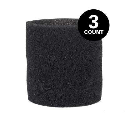 Wet Filter Foam Sleeve for Select Genie and Shop-Vac Wet Dry Vacs (3-Pack)