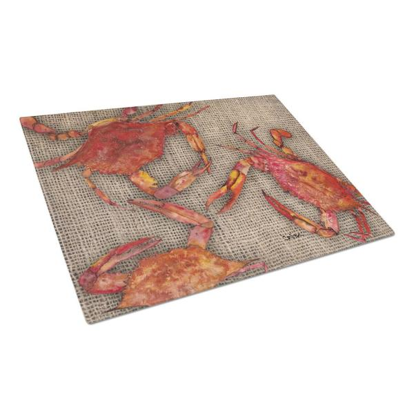 Caroline's Treasures Cooked Crabs on Faux Burlap Tempered Glass Large Heat