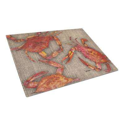 Cooked Crabs on Faux Burlap Tempered Glass Large Heat Resistant Cutting Board