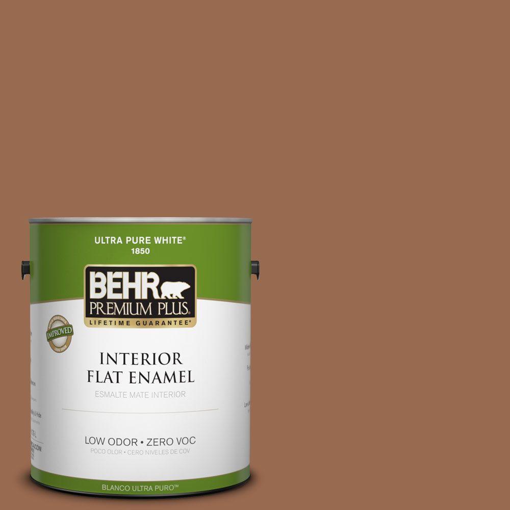 BEHR Premium Plus 1-gal. #PMD-88 Sorrel Brown Zero VOC Flat Enamel Interior Paint-DISCONTINUED