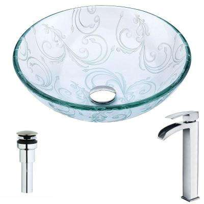 Vieno Series Deco-Glass Vessel Sink in Crystal Clear Floral with Key Faucet in Polished Chrome